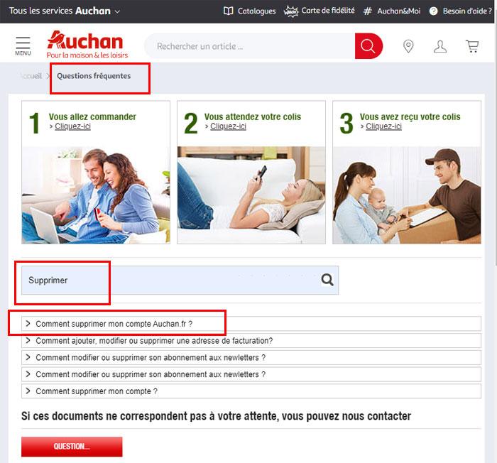 FAQ aide pour supprimer un compte auchan.fr