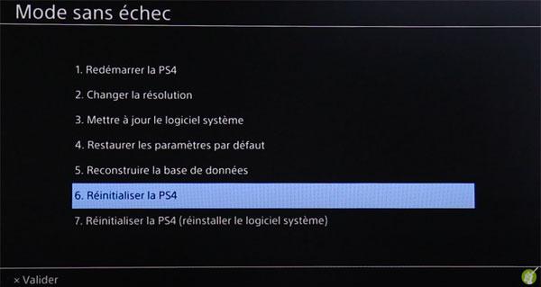 Réinitialiser la PS4 en mode sans échec