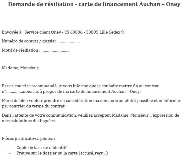 Lettre de résiliation carte bancaire Auchan Oley