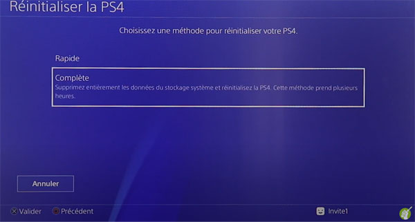 Réinitialiser la PS4