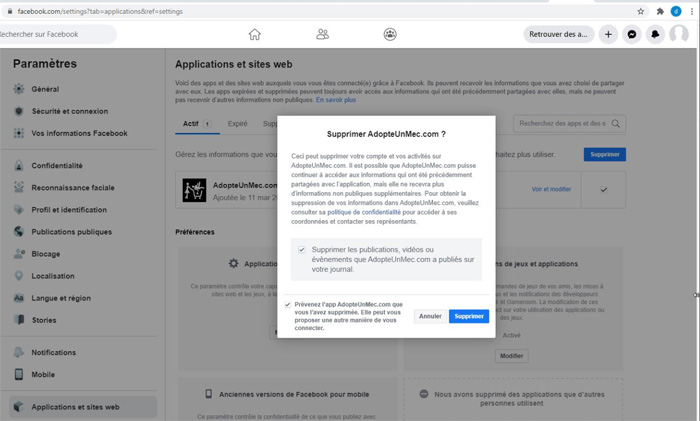 Supprimer un compte AdopteUnMec de Facebook