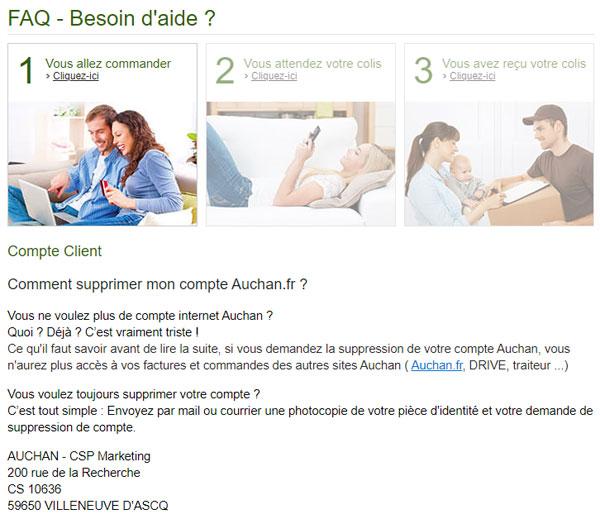 Supprimer un compte Auchan par lettre de résiliation envoyée par courriel