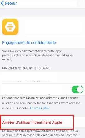 Supprimer un compte Bumble avec ID Apple