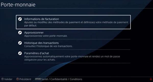 supprimer un compte ou une carte bancaire sur PS4