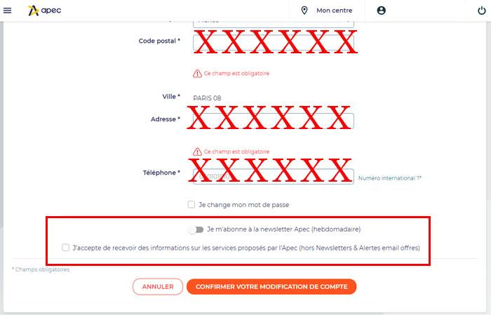 Désactiver les newsletters apec.fr