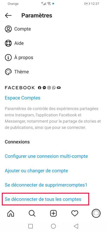 Se déconnecter de tous les comptes Instagram