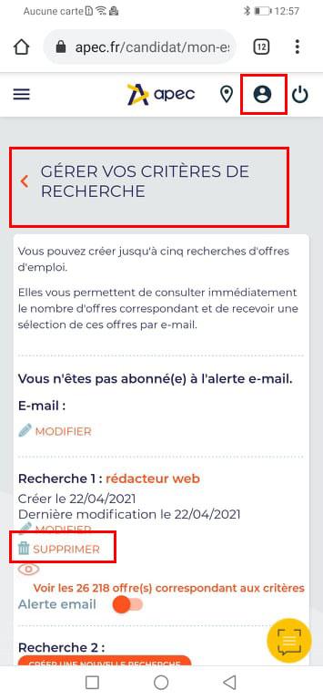 Supprimer les abonnements aux newsletters apec.fr