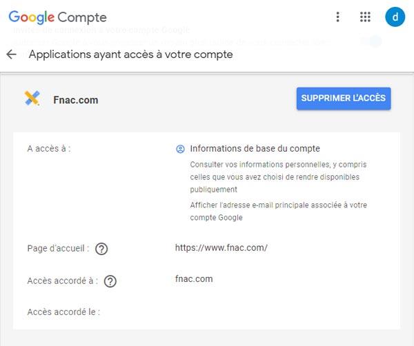 supprimer un compte Fnac du compte Google