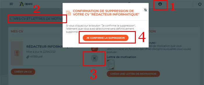 Supprimer un CV ou une lettre de motivation sur Apec.fr
