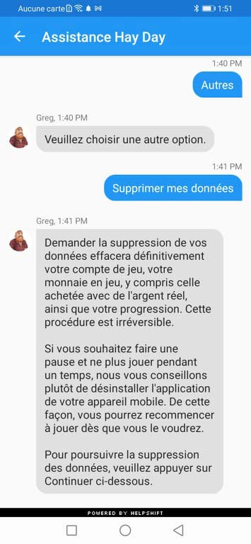 Supprimer une ferme Hay Day