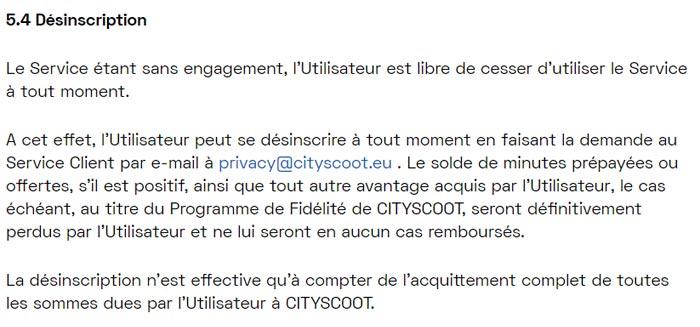 CGU Cityscoot : Se désinscrire et supprimer le compte