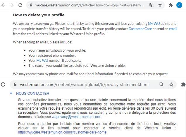 Comment supprimer un compte Western Union