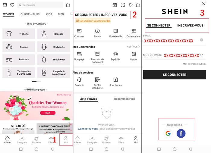 Créer un compte et se connecter sur l'application mobile Shein