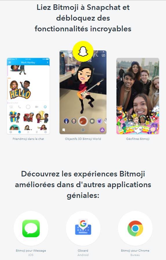 Différentes utilisations du compte Bitmoji