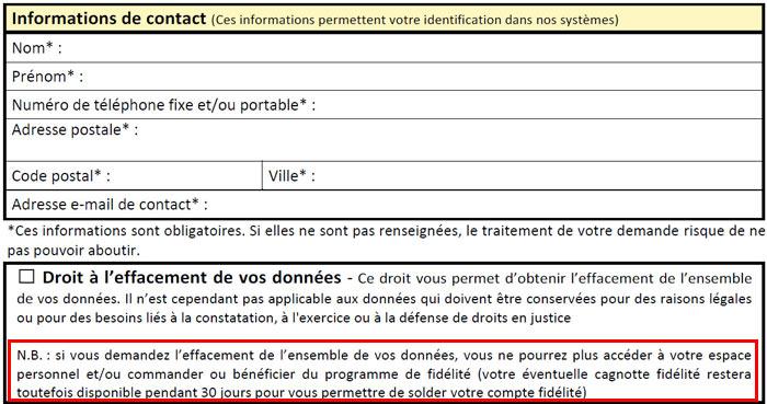 Formulaire de contact - supprimer un compte Carrefour