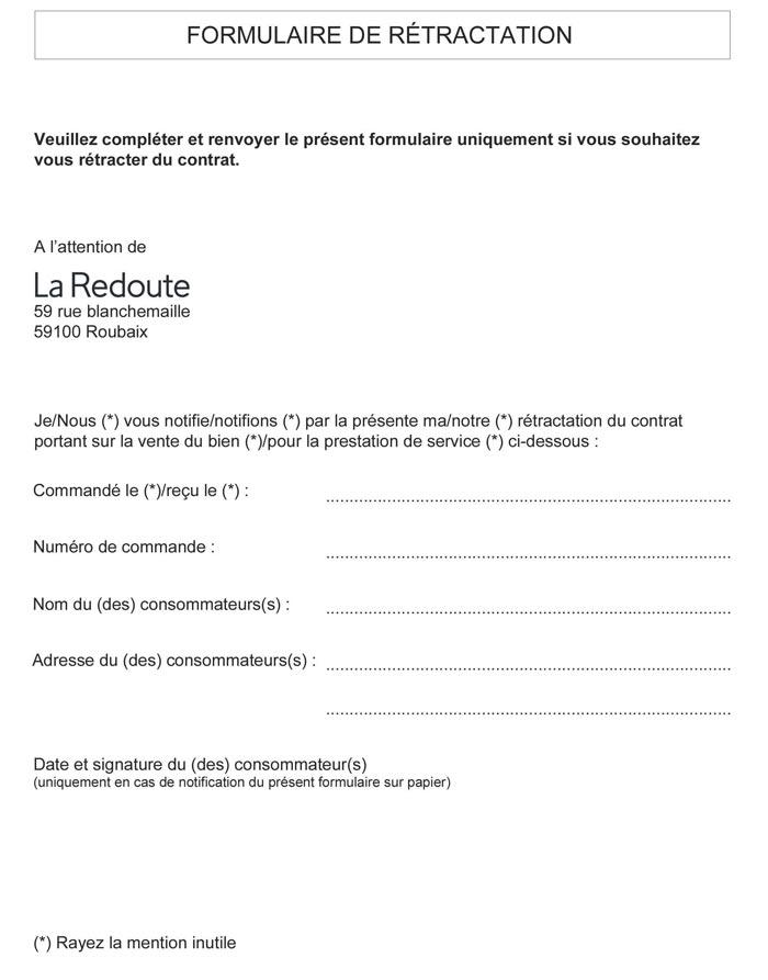 Formulaire de rétractation La Redoute