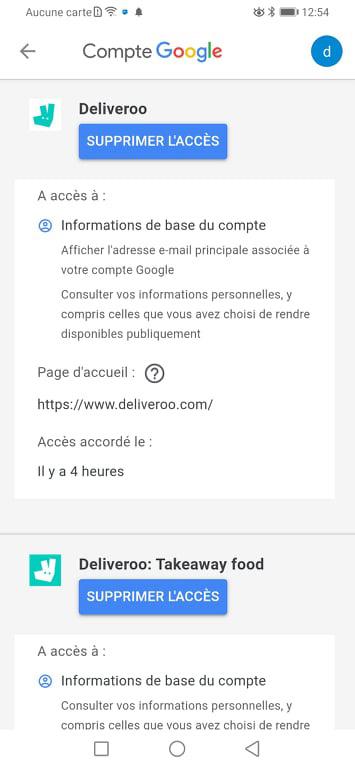 Supprimer Deliveroo du compte Google