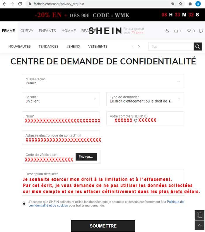 Supprimer le compte et les données personnelles sur Shein