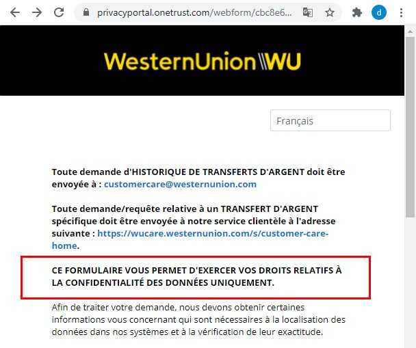 Supprimer les données personnelles et le compte WU