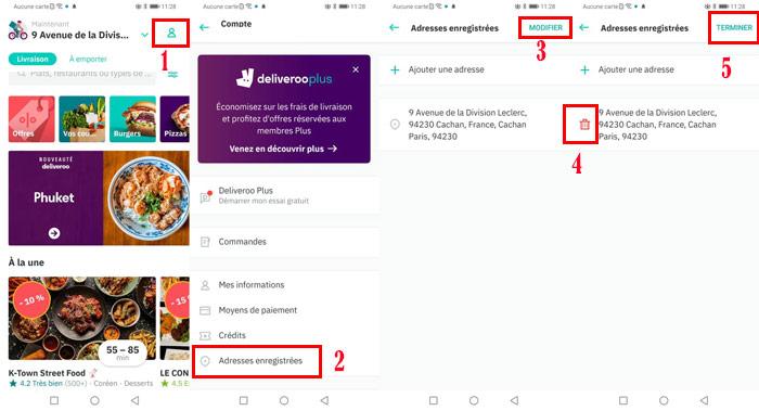 Supprimer ou modifier une adresse Deliveroo