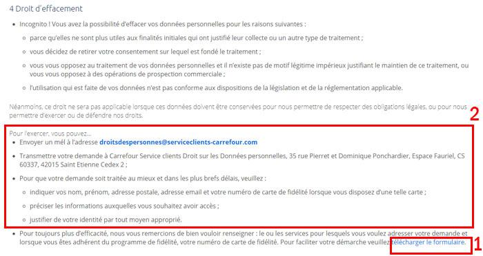 Supprimer un compte Carrefour