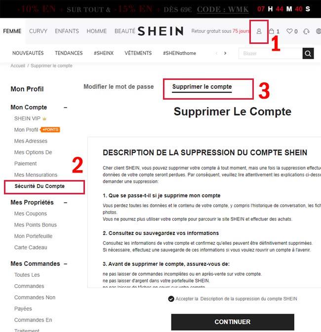 Supprimer un compte Shein sur un ordinateur