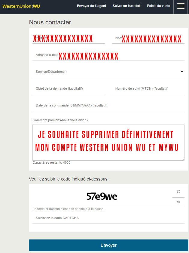 Supprimer un compte Western Union WU ou myWU