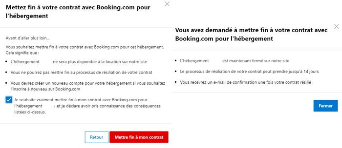 Supprimer un compte Booking propriétaire