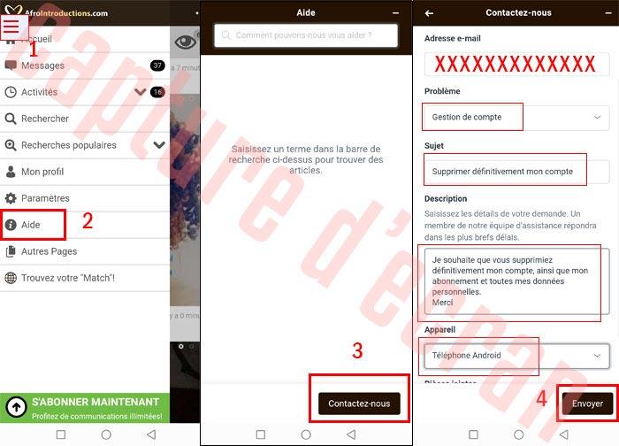 Supprimer un compte Afrointroductions sur Android