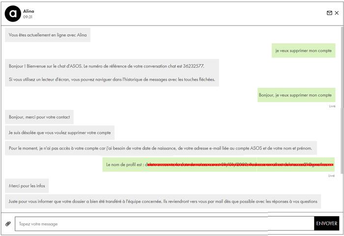Chat direct : supprimer un compte ASOS