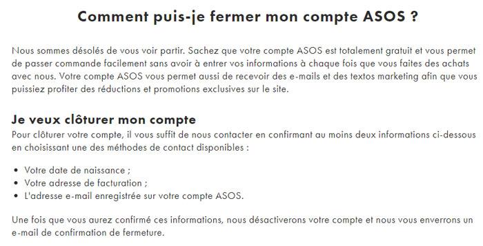 Aide : Fermer un compte ASOS