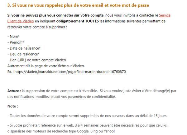 Aide pour supprimer un compte Viadeo sans email