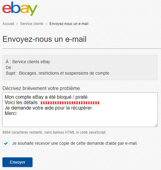 Récupérer un compte eBay piraté ou bloqué