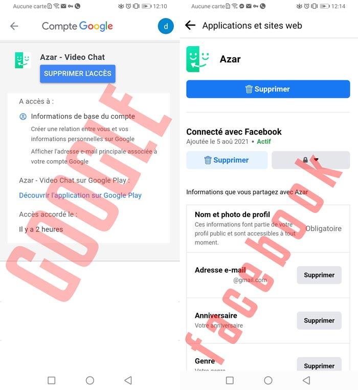 Supprimer Azar des comptes Google et Facebook