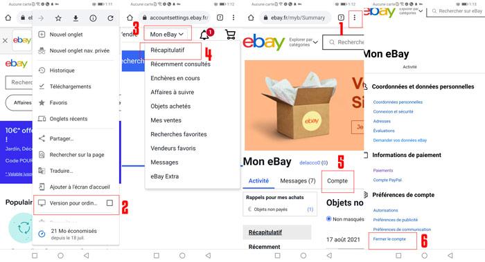 Supprimer un compte eBay sur téléphone